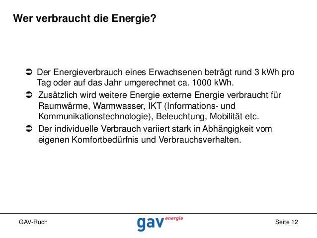 Wer verbraucht die Energie?   Der Energieverbrauch eines Erwachsenen beträgt rund 3 kWh pro Tag oder auf das Jahr umgerec...