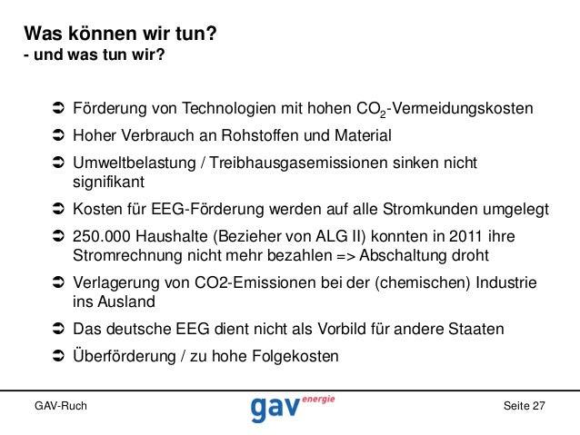 Was können wir tun? - und was tun wir?  Förderung von Technologien mit hohen CO2-Vermeidungskosten  Hoher Verbrauch an R...