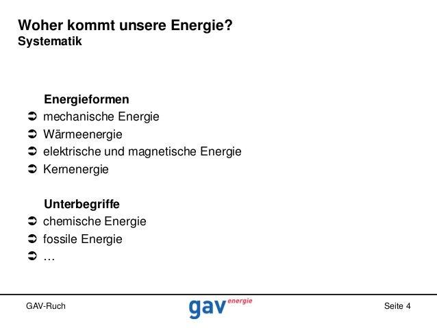 Woher kommt unsere Energie? Systematik       Energieformen mechanische Energie Wärmeenergie elektrische und magnetisch...