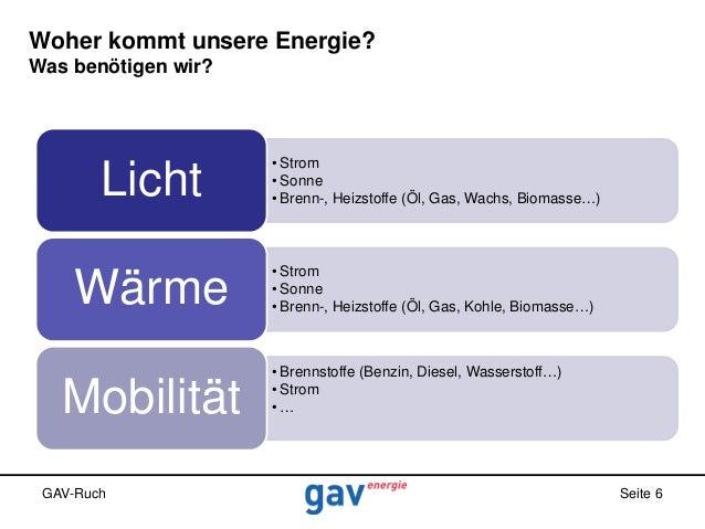 Woher kommt unsere Energie? Was benötigen wir?  Licht  • Strom • Sonne • Brenn-, Heizstoffe (Öl, Gas, Wachs, Biomasse…)  W...