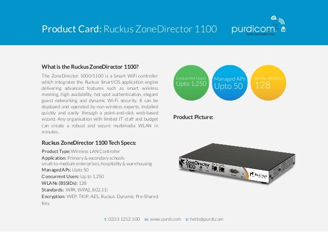 Product Card: Ruckus ZoneDirector 1100  What is the Ruckus ZoneDirector 1100?  The ZoneDirector 1000/1100 is a Smart WiFi ...