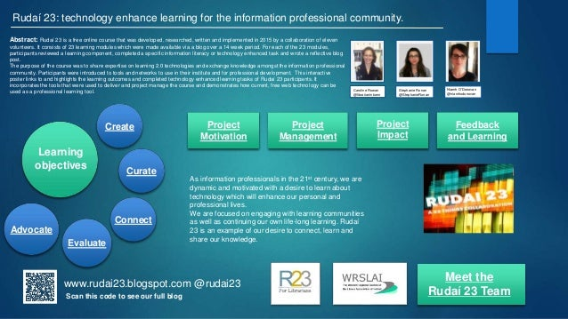 Create Advocate Evaluate Rudaí 23: technology enhance learning for the information professional community. Abstract: Rudaí...