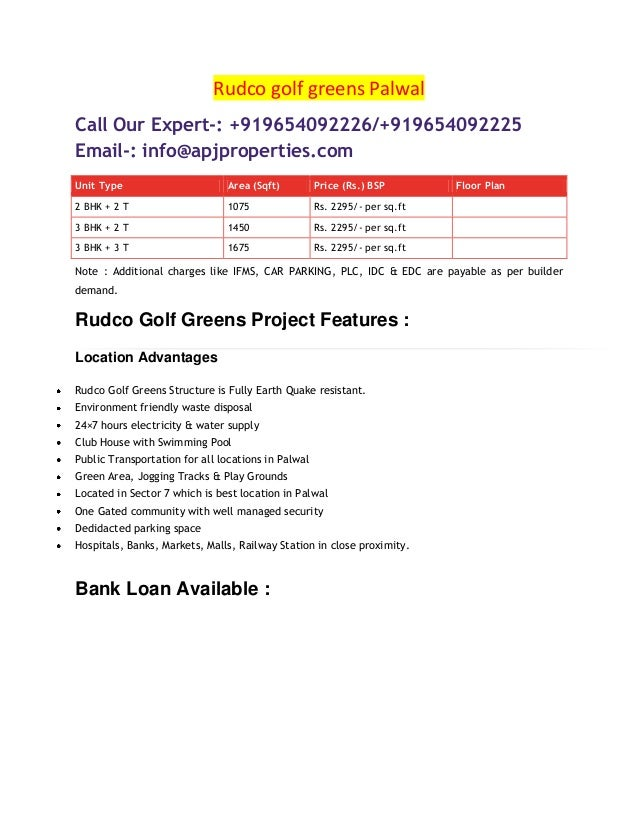 Rudco golf greens Palwal Call Our Expert-: +919654092226/+919654092225 Email-: info@apjproperties.com Unit Type Area (Sqft...