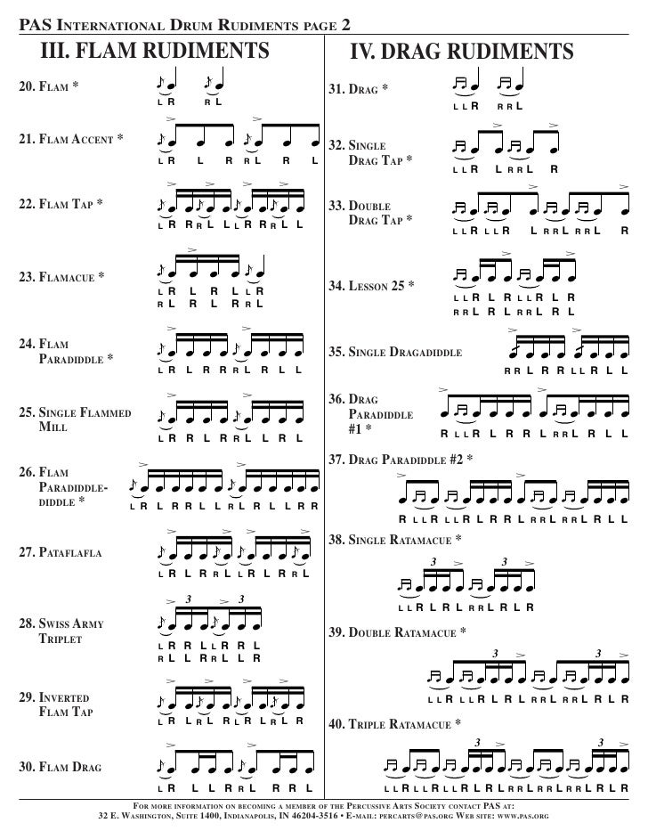 image about Printable Drum Rudiments titled 40 Rudimentos