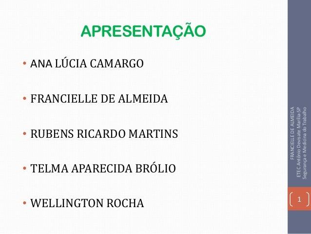APRESENTAÇÃO • ANA LÚCIA CAMARGO • FRANCIELLE DE ALMEIDA • RUBENS RICARDO MARTINS • TELMA APARECIDA BRÓLIO • WELLINGTON RO...