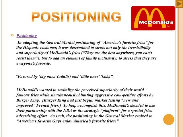 mcdonalds product positioning map Understanding where your product fits within the market is critical to its success one simple, effective tool that marketers use is a product-positioning map, which places products and/or.