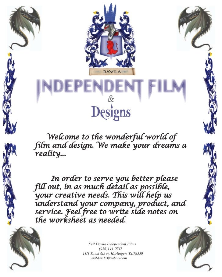 &    Welcome to the wonderful world offilm and design. We make your dreams areality...      In order to serve you better p...