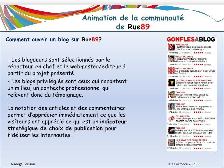 Description du modèle économique <br />de Rue89<br />Nadège Poisson le 31 octobre 2009<br />Stratégie développée<br ...