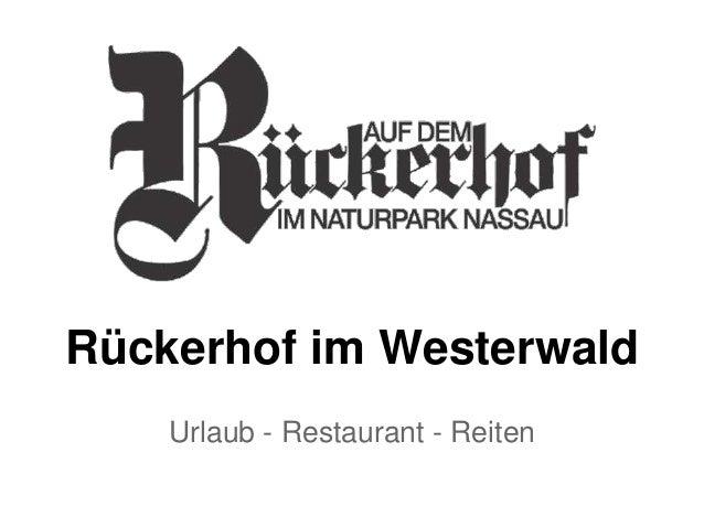 Rückerhof im Westerwald Urlaub - Restaurant - Reiten