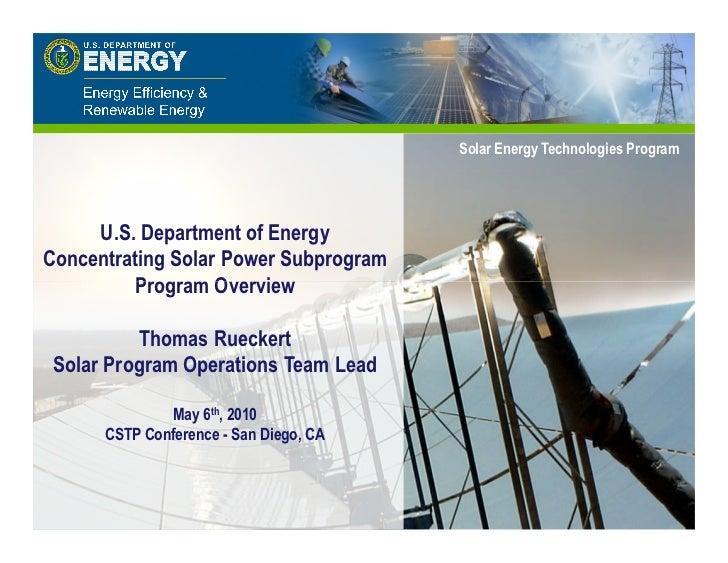 Solar Solar Energy Technologies Program                                              Energy Technologies Program     U.S. ...