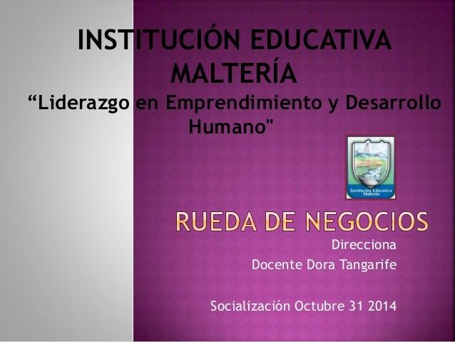 """INSTITUCIÓN EDUCATIVA  """"Liderazgo en Emprendimiento y Desarrollo  Direcciona  MALTERÍA  Humano""""  Docente Dora Tangarife  S..."""