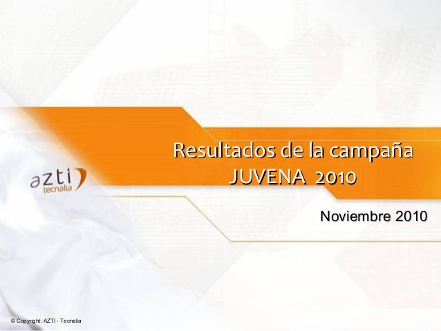 © Copyright: AZTI - Tecnalia Resultados de la campañaResultados de la campaña JUVENA 2010JUVENA 2010 Noviembre 2010Noviemb...