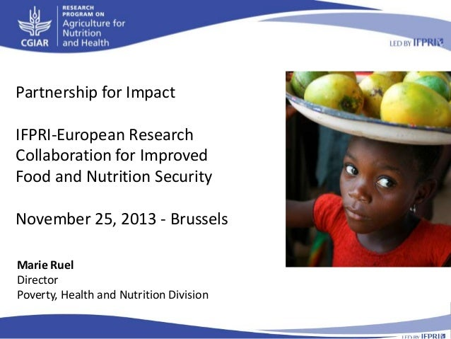 Partnership for Impact IFPRI-European Research Collaboration for Improved Food and Nutrition Security November 25, 2013 - ...