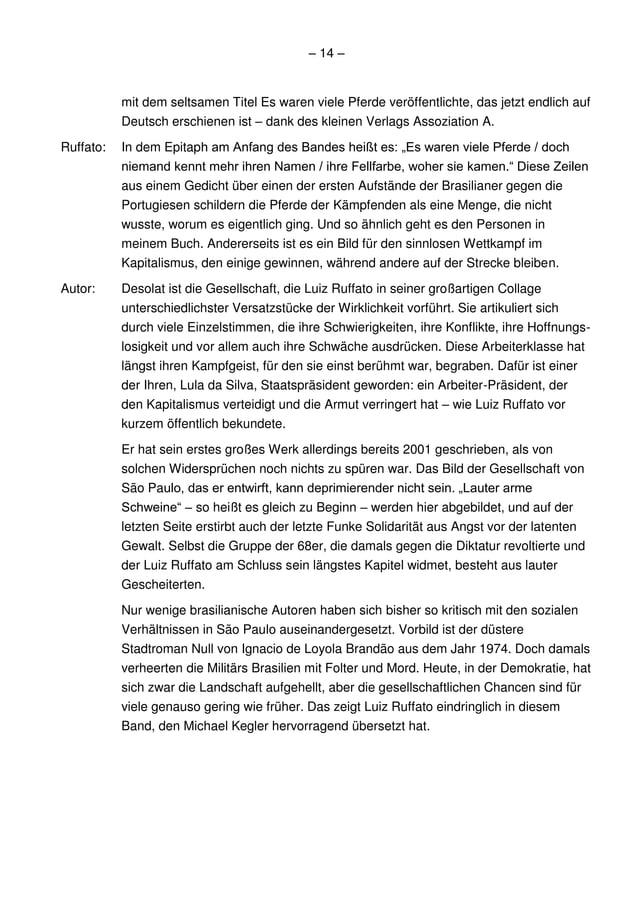 – 14 –           mit dem seltsamen Titel Es waren viele Pferde veröffentlichte, das jetzt endlich auf           Deutsch er...