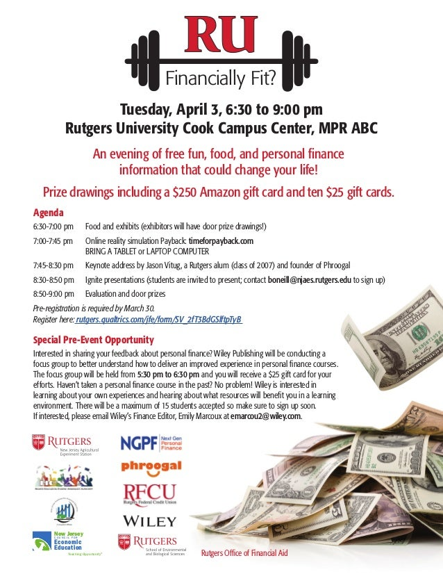 Financially Fit? An evening of free fun, food, and personal finance information that could change your life! Prize drawing...
