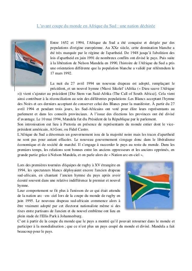 Sport et mondialisation la coupe du monde de rugby en - Coupe du monde rugby afrique du sud 1994 ...