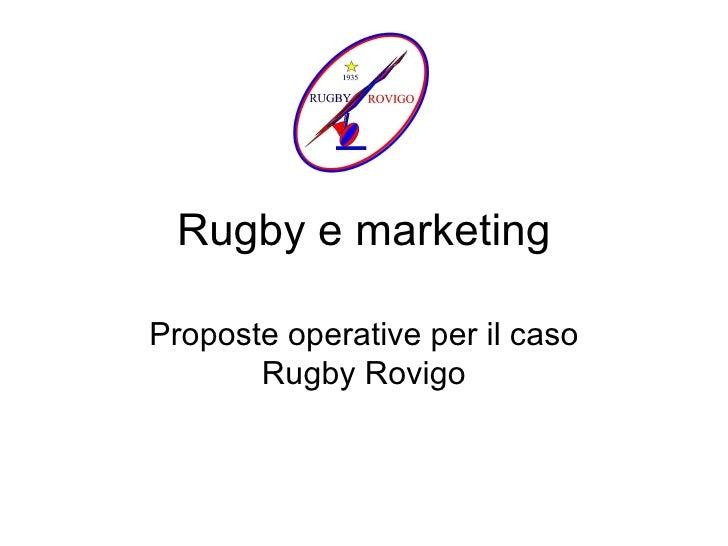 Rugby e marketing Proposte operative per il caso Rugby Rovigo