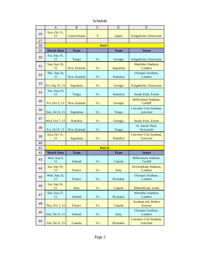 Rugby World Cup 2015 Schedule In Pdf