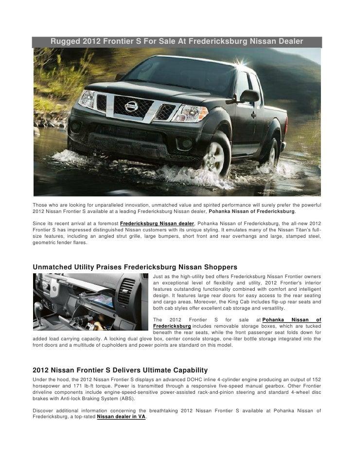Nissan Dealers In Va >> Rugged 2012 Frontier S For Sale At Fredericksburg Nissan