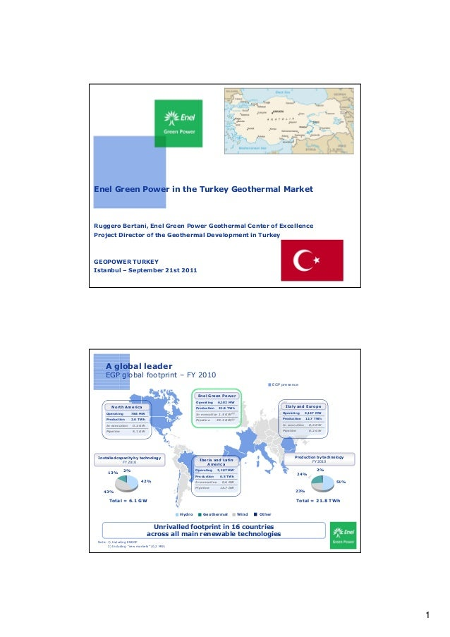 Enel Green Power in the Turkey Geothermal MarketRuggero Bertani, Enel Green Power Geothermal Center of ExcellenceProject D...
