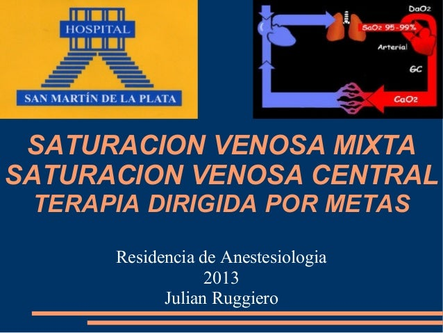 SATURACION VENOSA MIXTASATURACION VENOSA CENTRAL TERAPIA DIRIGIDA POR METAS      Residencia de Anestesiologia             ...