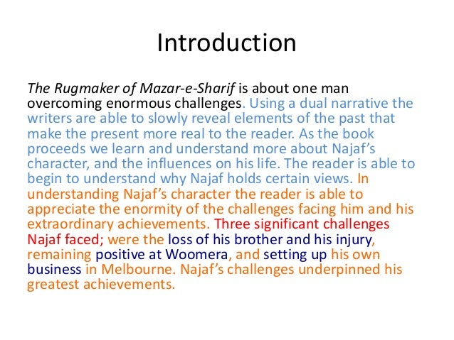 rugmaker essay narrative structure introduction