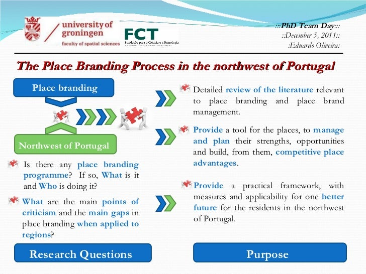 The Place Branding Process in the northwest of Portugal  ::: PhD Team Day ::: ::December 5, 2011:: : Eduardo Oliveira: Pur...