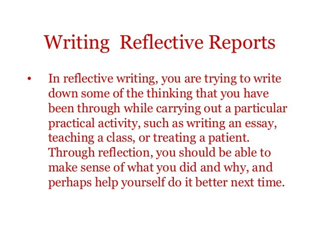 how to start a reflective report