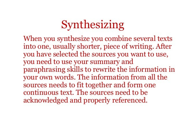 synthesising a Summarizing, paraphrasing, synthesizing 1 summarizing,paraphrasing, and synthesizing 2 summarizing, paraphrasing, and synthesizing.