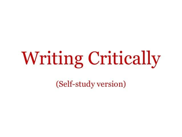 Writing Critically    (Self-study version)