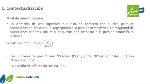 1. Contextualización Nivel de presión sonora: • La vibración de una superficie que está en contacto con el aire, produce v...