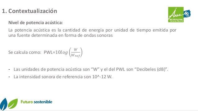 1. Contextualización Nivel de potencia acústica: La potencia acústica es la cantidad de energía por unidad de tiempo emiti...