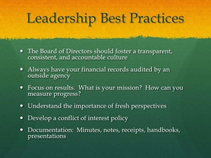Board of Directors Best Practices