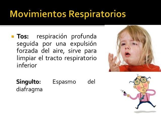    Tos: respiración profunda    seguida por una expulsión    forzada del aire, sirve para    limpiar el tracto respirator...