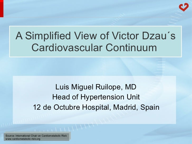 A Simplified View of Victor Dzau´s Cardiovascular Continuum   Luis Miguel Ruilope, MD Head of Hypertension Unit 12 de Octu...