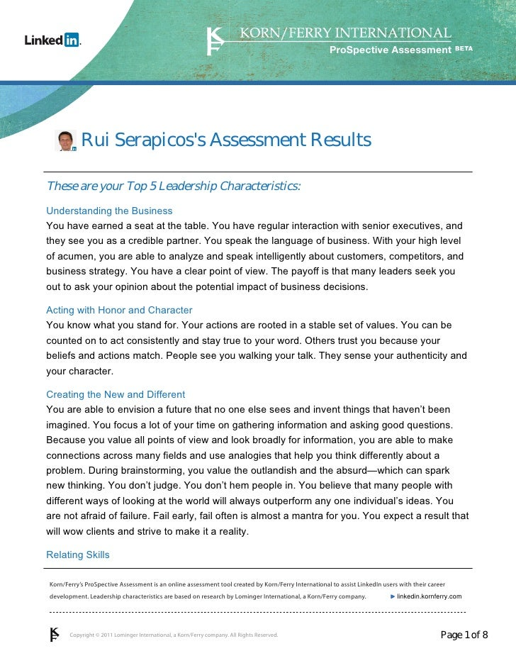 ProSpective Assessment           Rui Serapicoss Assessment ResultsThese are your Top 5 Leadership Characteristics:Understa...