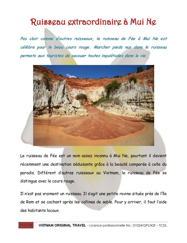 1 VIETNAM ORIGINAL TRAVEL – Licence professionnelle No : 01024/GPLHQT – TCDL Ruisseau extraordinaire à Mui Ne Pas clair co...