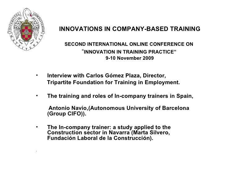 """INNOVATIONS IN COMPANY-BASED TRAINING SECOND INTERNATIONAL ONLINE CONFERENCE ON   """" INNOVATION IN TRAINING PRACTICE""""  9-10..."""