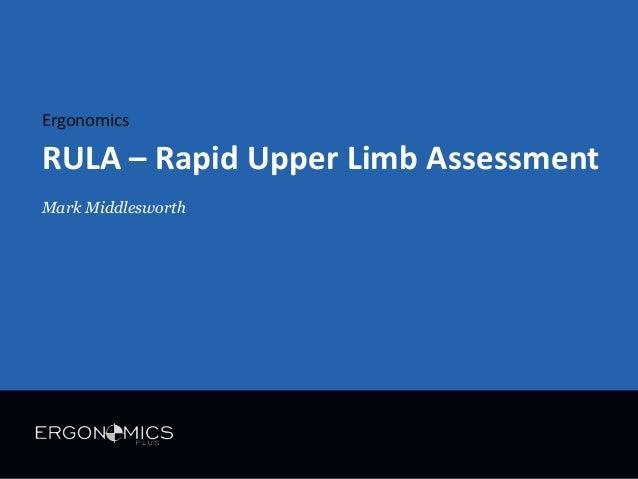 Ergonomics  RULA – Rapid Upper Limb Assessment Mark Middlesworth