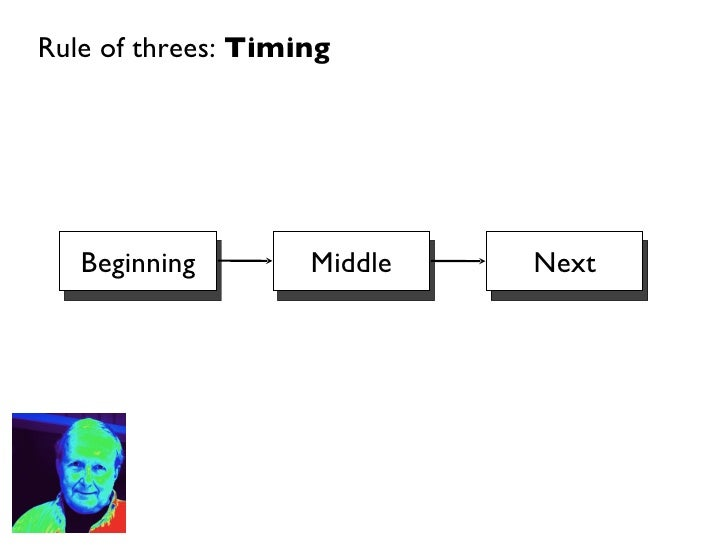 Rule of threes:  Timing Beginning Middle Next
