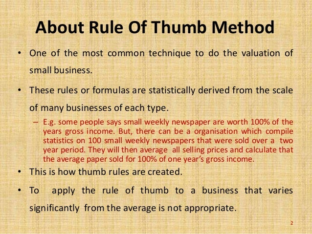 Rules of thumb and valuation