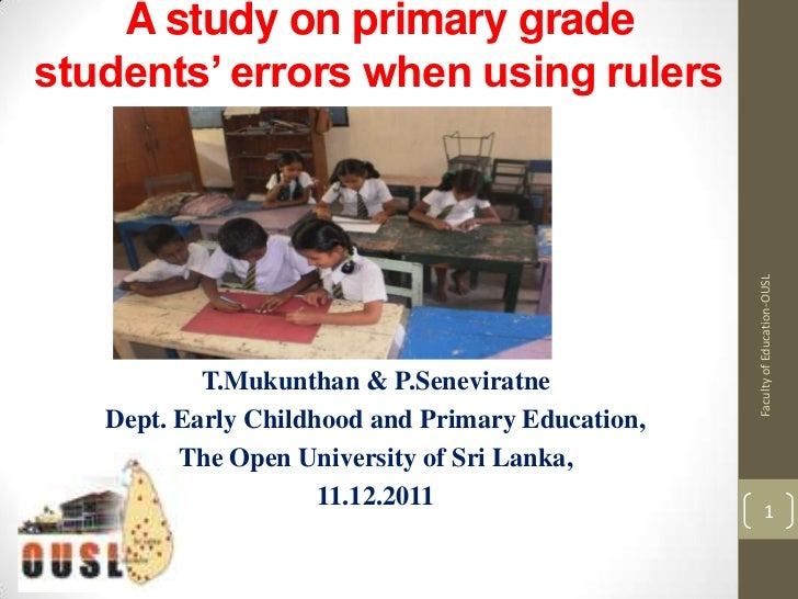 A study on primary gradestudents' errors when using rulers                                                  Faculty of Edu...