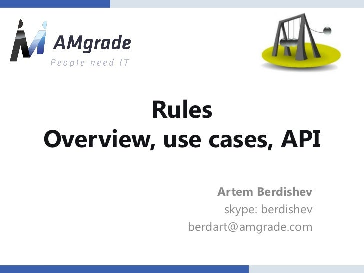 RulesOverview, use cases, API                 Artem Berdishev                  skype: berdishev            berdart@amgrade...