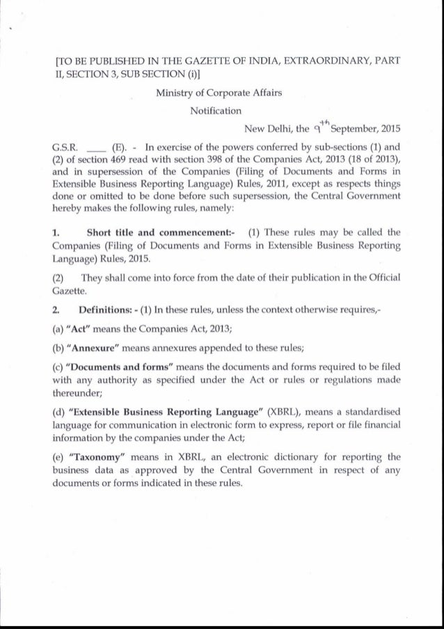 [TO BE PUBLISHED IN THE GAZETTE OF INDIA, EXTRAORDINARY, PART rr, SECTION 3, SUB SECTTON (01 Ministry of Corporate Affairs...