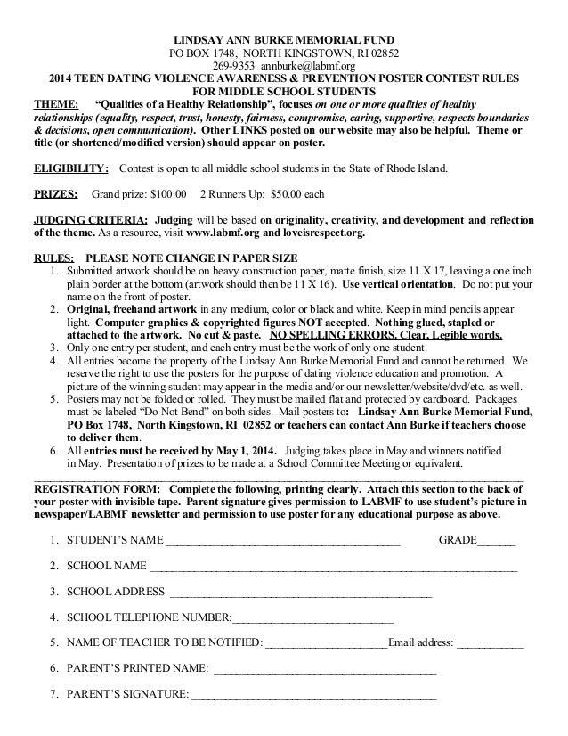 LINDSAY ANN BURKE MEMORIAL FUND PO BOX 1748, NORTH KINGSTOWN, RI 02852 269-9353 annburke@labmf.org 2014 TEEN DATING VIOLEN...
