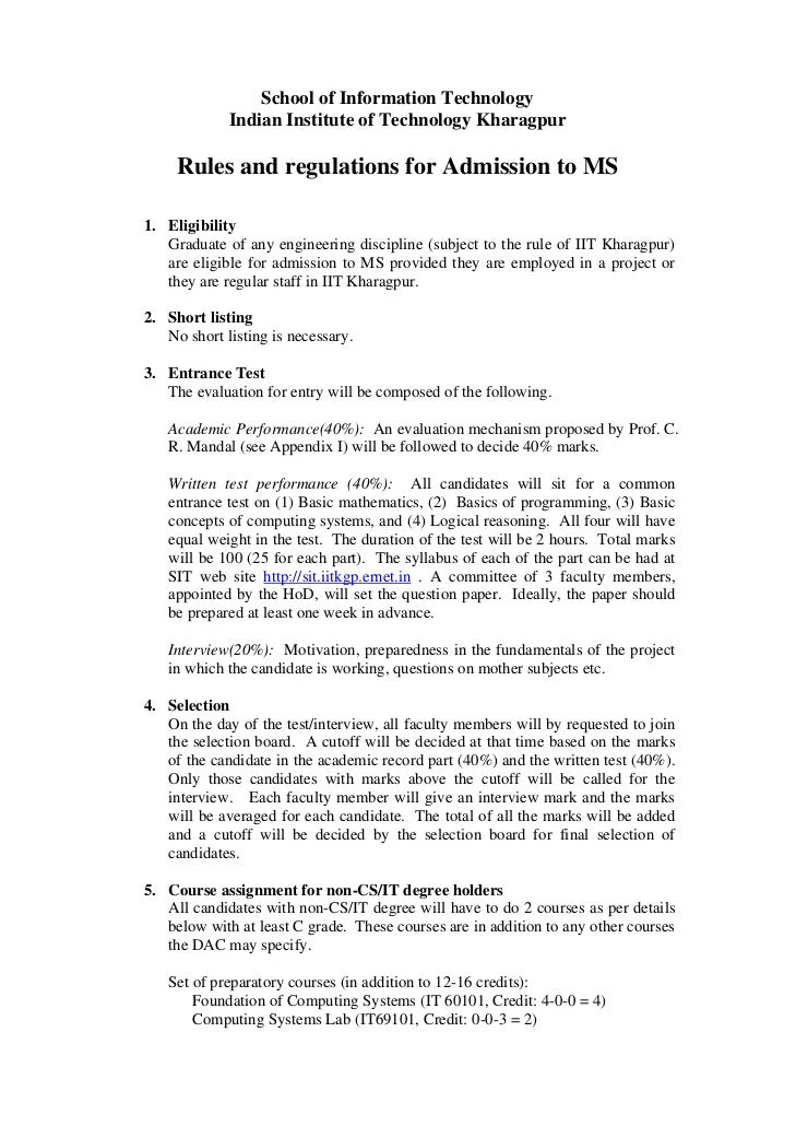 School of Information Technology             Indian Institute of Technology Kharagpur     Rules and regulations for Admiss...