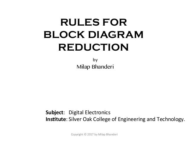 Rules for Block Diagram Reduction - Digital Electronics