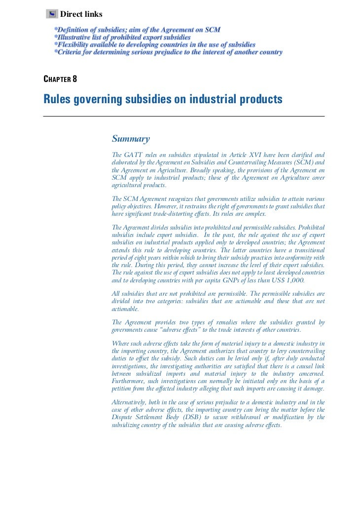 Direct links  *Definition of subsidies; aim of the Agreement on SCM  *Illustrative list of prohibited export subsidies  *F...