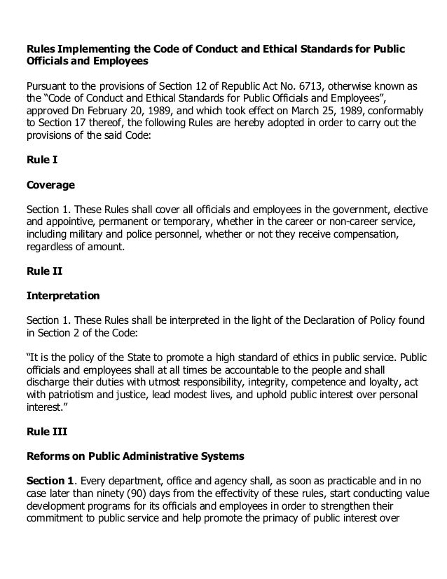 Rules Implementing the Code of Conduct and Ethical Standards for PublicOfficials and EmployeesPursuant to the provisions o...