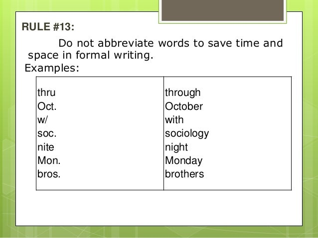 using slashes in formal writing abbreviations